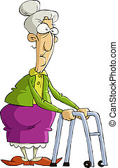 Old woman - The old woman on a white background, vector ...
