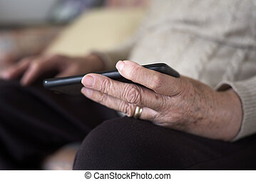old woman using a smartphone