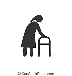 Old woman, walker icon. Vector illustration, flat design. -...