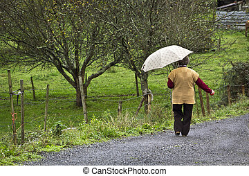 old woman walking along the road of a meadow