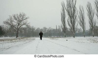 Old Woman Walking In Winter