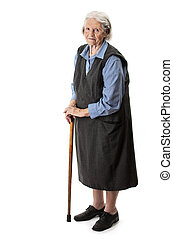 Old woman with a cane over