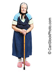 Old woman with a cane over white