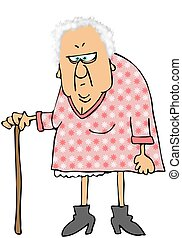 This illustration depicts an old, gray haired woman using a cane.