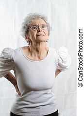 old woman with backpain