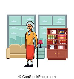 old woman with cane skyscrapers silhouette cityscape