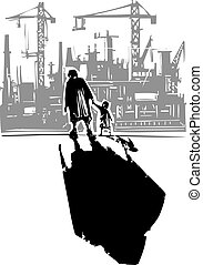 Old Woman with Child going to Factory