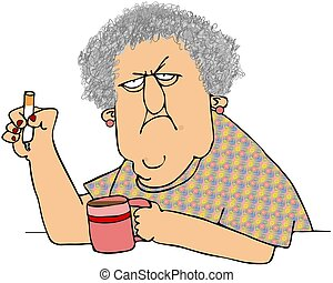 This illustration depicts an old woman holding a cigarette and a cup of coffee.