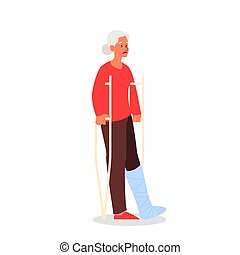 Old woman with crutches, having a gypsum bandage. Female ...