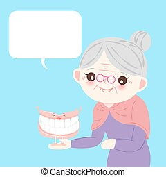 old woman with denture