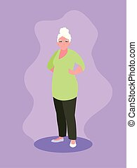 old woman with hands on waist