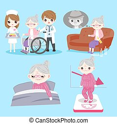 old woman with health problem