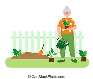 Old woman with plants in the garden.