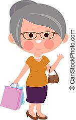 Old woman with shopping bags. Vector illustration.