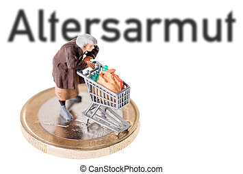 age poverty - Old woman with shopping cart and the german...