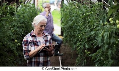 old woman with tablet pc in greenhouse on farm - farming,...