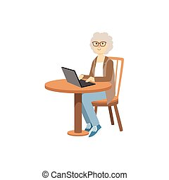 Old Woman Working On Lap Top Bright Color Cartoon Simple ...