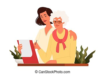 Old woman write a testament. Senior draw a will. Retirement estate planning, property transfering, financial advisor and lawyer services concept. Isolated vector illustration in cartoon style