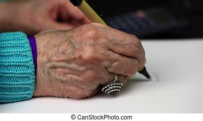 Old woman writes numbers
