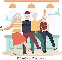 Old women and old men dancing, senior romantic night concept and vector illustration on white background. Elderly character couples dancing.