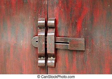 Old wood antique door handle