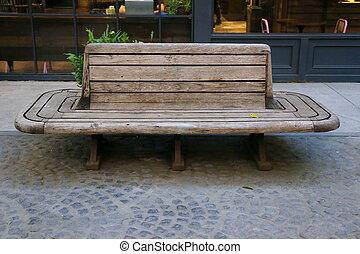 old wood bench in garden