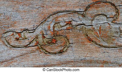 Old Wood Chair Carving Detail
