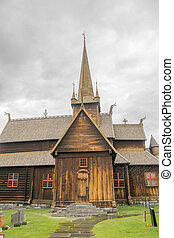 Old wood church in Norway - Wood old architecture attraction...
