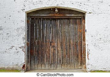 Old wood fort doors center