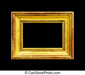 Old wood frame isolated on black