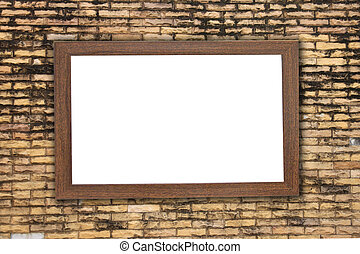 Old Wood frame on brick wall.