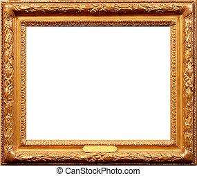 old wood frame isolated on white backfround. vintage frame