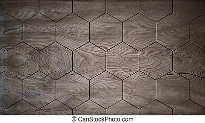 Old wood hexagons background 3d render