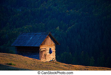 Old wood house in the mountains