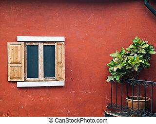 old wood open window
