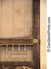 Old wood screen door of home