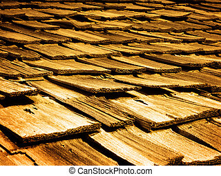 Old Wood Shingles on Top of House