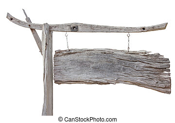 Old wood sign board hanging with chain isolated on white background with clipping path