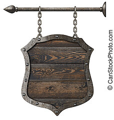 old wood sign shield with chains 3d illustration