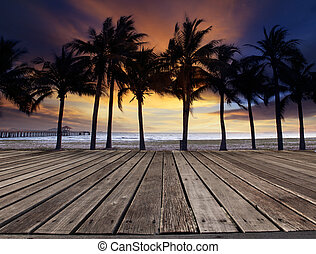 old wood terrace on sea beach with coconuts tree and beautiful d