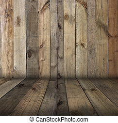 old  wood texture wall background in vintage with copy space, top view of floor- can used to show produce and goods for advertisment