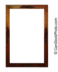 old wood thai style craving frame isolated on white