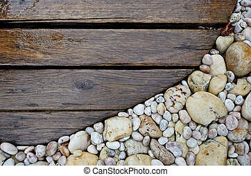 wood walkway - Old wood walkway on rock background nature