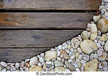 wood walkway - Old wood walkway on rock background nature