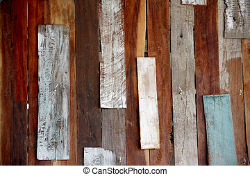 old wood wall Disorganized have blue, red and white color