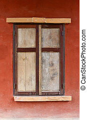 old wood window retro style