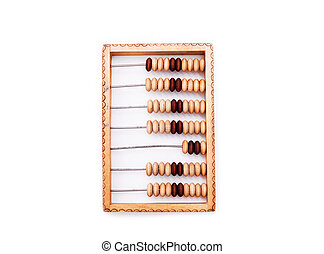 old wooden abacus isolated on a white background