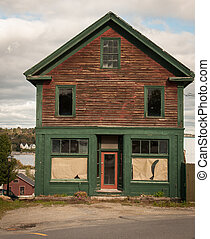 Old wooden abandon store in rural maine