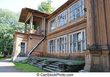 Old wooden abandoned buildind, Cottage Gromov.
