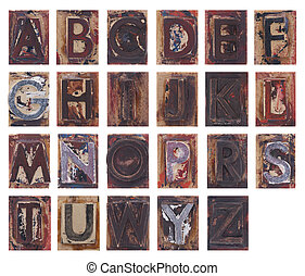 Old wooden alphabet letters
